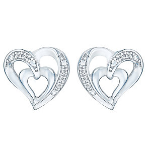 Sterling Silver & Diamond Heart Earrings - Product number 4066030