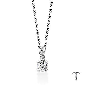 Tolkowsky 18ct Platinum 0.35ct round diamond drop pendant - Product number 4069714