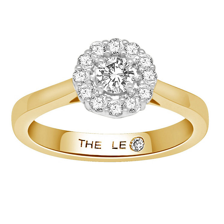 Leo Diamond 18ct gold 0.50ct I-SI1 diamond halo ring - Product number 4070860