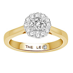 Leo Diamond 18ct gold 1/2ct I-SI1 diamond halo ring - Product number 4070860