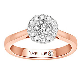Leo Diamond 18ct rose gold 1/2ct I-SI1 diamond halo ring - Product number 4070992