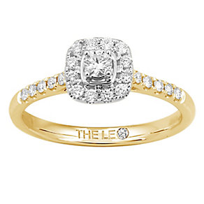 Leo Diamond 18ct gold 1/3ct I-I1 diamond cushion halo ring - Product number 4073614