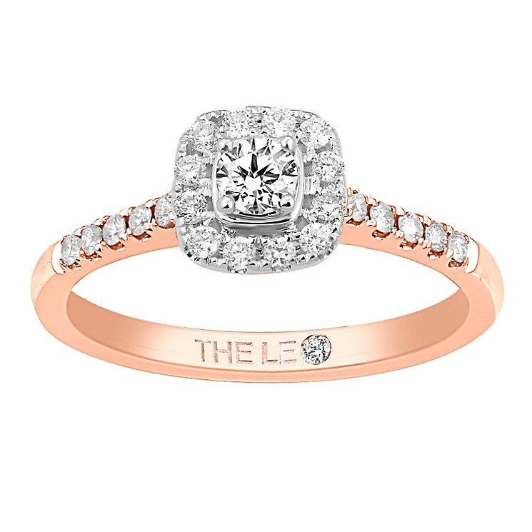 Leo Diamond 18ct rose gold 1/3ct I-I1 diamond halo ring - Product number 4073754