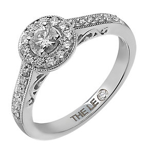 Leo Diamond platinum 1/2ct I-I1 diamond vintage halo ring - Product number 4075404