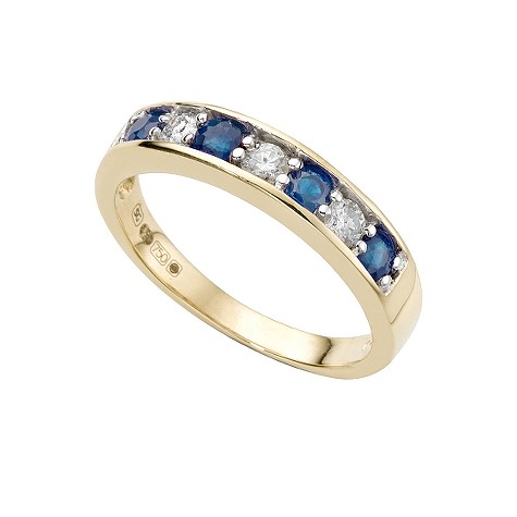 18ct gold sapphire and diamond fifth carat half-eternity ring