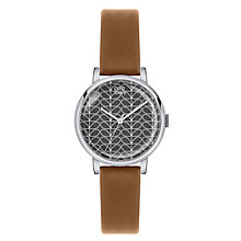 Orla Kiely Ladies' Round Grey Dial Tan Leather Strap Watch - Product number 4078608