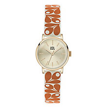 Orla Kiely Ladies' Gold Dial Orange Leather Strap Watch - Product number 4078616