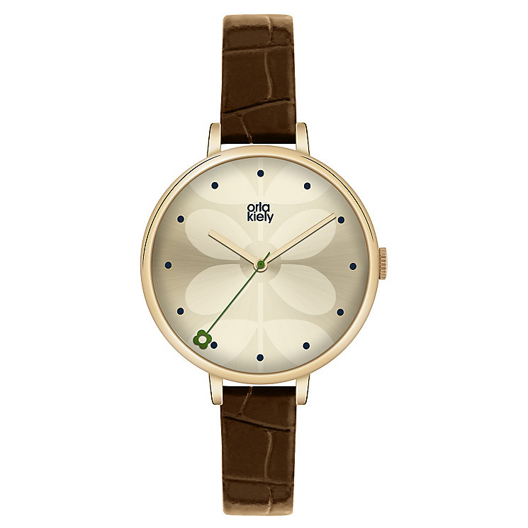 Orla Kiely Ladies' Cream Dial Brown Leather Strap Watch - Product number 4078640