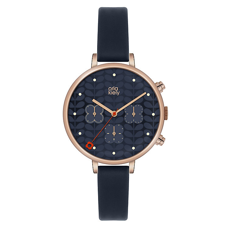 Orla Kiely Ladies' Round Navy Dial Navy Leather Strap Watch - Product number 4078721