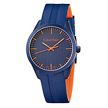 Calvin Klein Men's Ion Plated Navy Rubber Strap Watch - Product number 4082869