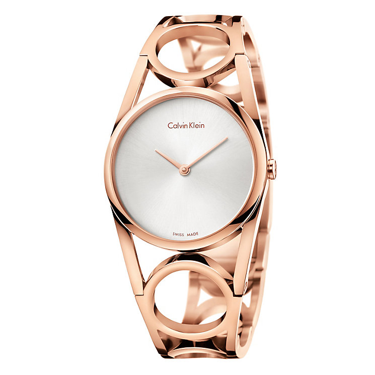 Calvin Klein Ladies' Rose Gold Plated Round Bracelet Watch - Product number 4082907