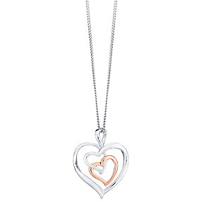 Silver 9ct Rose Gold Heart Pendant - Product number 4083202