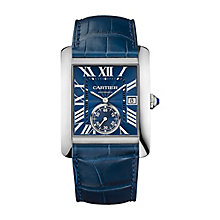 Catier Tank Men's Stainless Steel Blue Dial Strap Watch - Product number 4088328