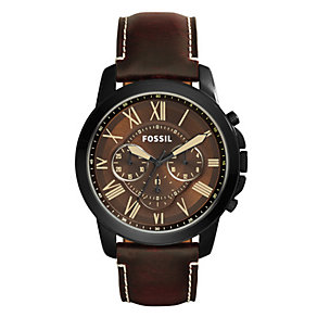 Fossil Grant Men's Ion-plated Brown Dial Strap Watch - Product number 4088700