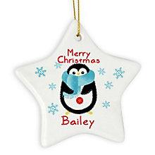Felt Stitch Penguin Ceramic Star Decoration - Product number 4096045