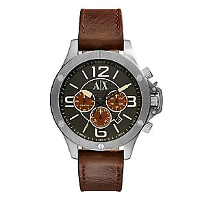 Armani Exchange Men's Brown Leather Strap Watch - Product number 4096762