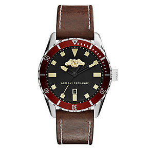 Armani Exchange Men's Black Dial Brown Leather Strap Watch - Product number 4096770