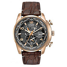 Citizen Men's Round Black Dial Brown Leather Strap Watch - Product number 4099249