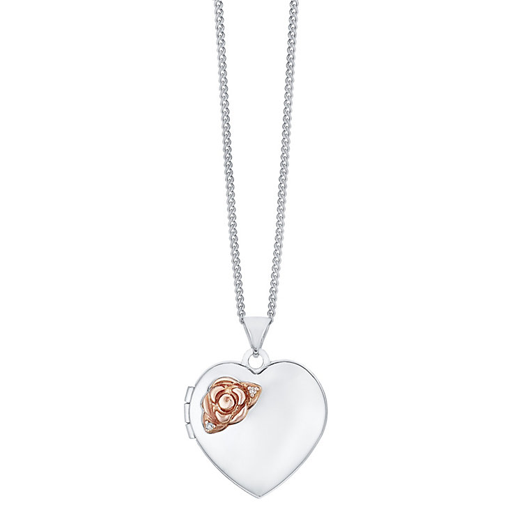 Silver 9ct Rose Gold Diamond Heart Locket - Product number 4106199