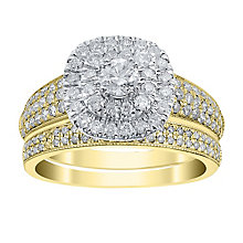 18ct yellow Gold 1ct Diamond Cushion Shaped Halo Ring - Product number 4110463