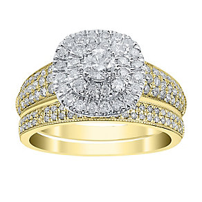 18ct Yellow Gold 1ct Cushion Cut Double Halo Bridal Set - Product number 4110463