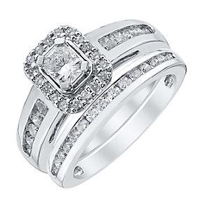 Platinum 1ct Radiant Cut Diamond Halo Bridal Set - Product number 4110668