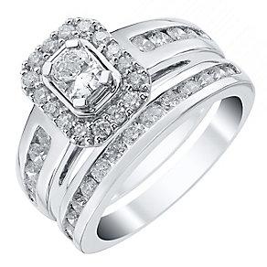 Platinum 1.5ct Radiant Cut Diamond Halo Bridal Set - Product number 4110838