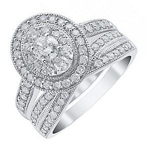 18ct White Gold 1ct Diamond Halo Bridal Set - Product number 4111028