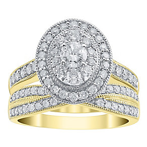 18ct Yellow Gold 1ct Oval Cut Halo Crossover Bridal Set - Product number 4111176