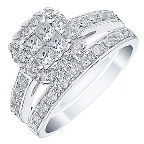 18ct White Gold 1ct Diamond Princess Cut Halo Bridal Set - Product number 4111303