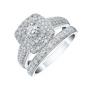 18ct White Gold 1ct Double Halo Bridal Set - Product number 4111508