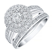 18ct White Gold 1ct Double Halo Bridal Set - Product number 4111877