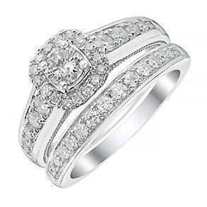 Platinum 1ct Cushion Halo Bridal Set - Product number 4112474