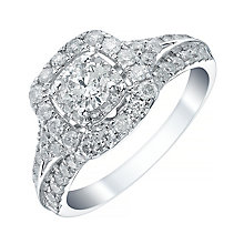 18ct White Gold 1ct Diamond Halo Ring - Product number 4114248