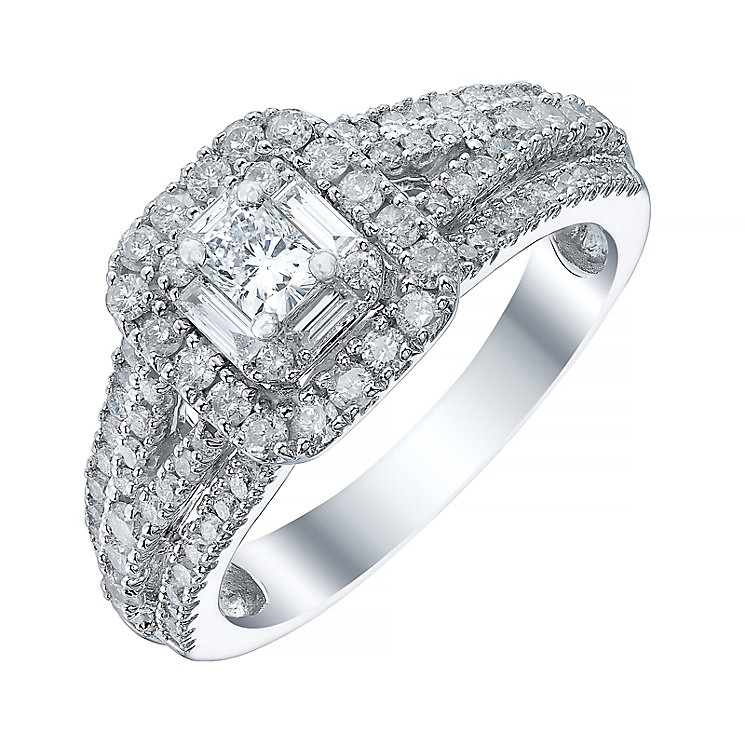 18ct White Gold 1ct Halo Triple Split Shoulder Ring - Product number 4114507