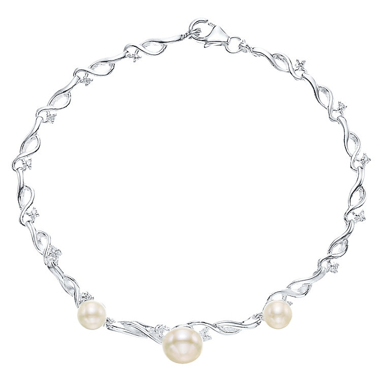 Sterling Silver Cultured Freshwater Pearl Fancy Bracelet - Product number 4137515