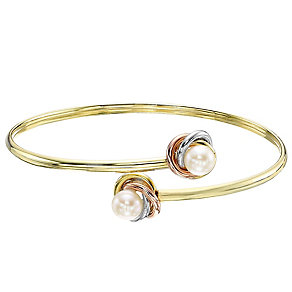 9ct Gold Three Colour Freshwater Pearl Knot Bangle - Product number 4137531