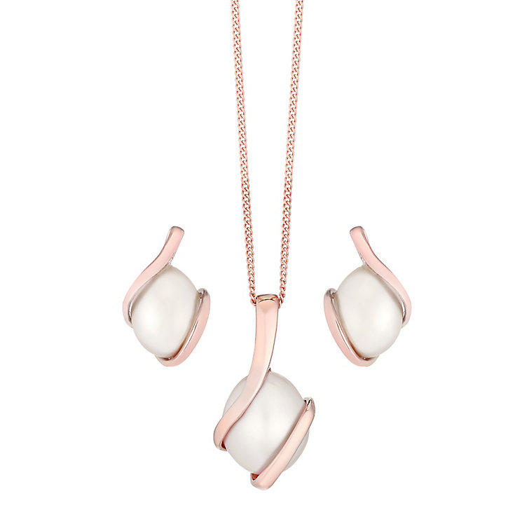 9ct Rose Gold Cultured Freshwater Pearl Pendant & Earrings - Product number 4137590