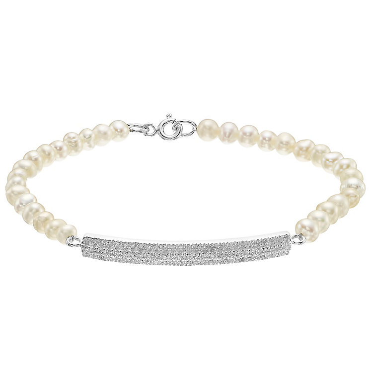 Sterling Silver Cultured Freshwater Pearl Bar Bracelet - Product number 4138260