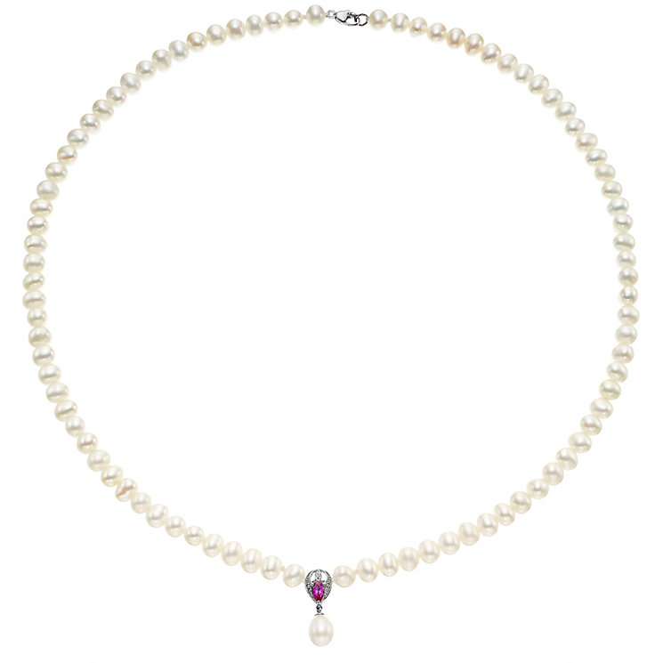 9ct White Gold Cultured Pearl Diamond & Ruby Necklace - Product number 4138384