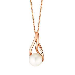 9ct Rose Gold Cultured Freshwater Pink Pearl Twist Pendant - Product number 4138600