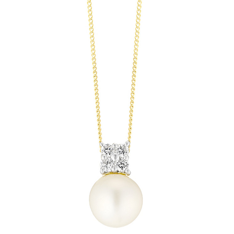 9ct Gold Cultured Freshwater Pearl & Cubic Zirconia Pendant - Product number 4139313