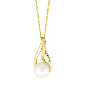 9ct Gold Cultured Freshwater Pearl Twist Pendant - Product number 4139569