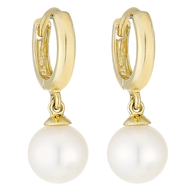 9ct Gold Cultured Freshwater Pearl Hoop Earrings - Product number 4139739