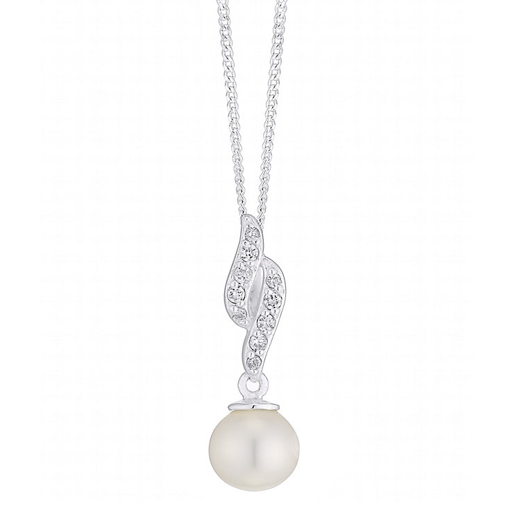Sterling Silver Cultured Freshwater Pearl Wave Pendant - Product number 4139941