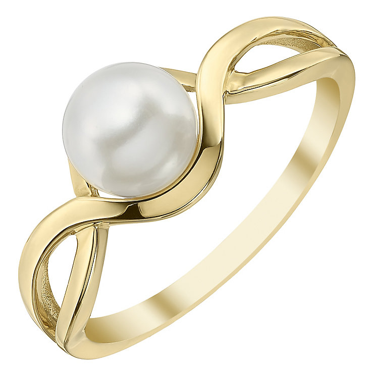 9ct Gold 6.5mm Cultured Freshwater Pearl Crossover Ring - Product number 4140214