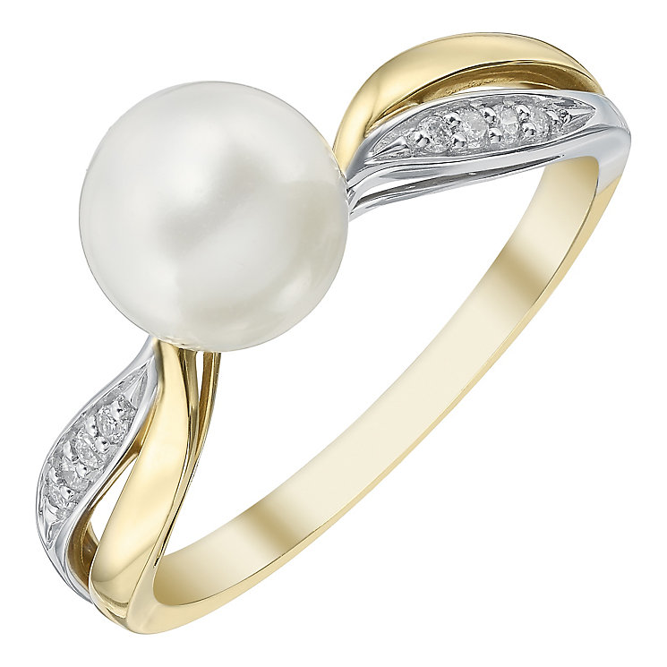9ct Gold 7mm Cultured Freshwater Pearl & Diamond Ring - Product number 4140486