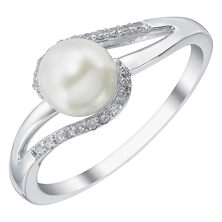 9ct White Gold Certified Cultured Freshwater Pearl Ring - Product number 4140915