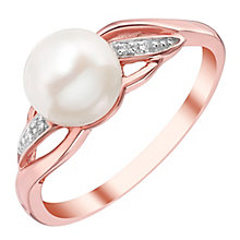 9ct Rose Gold Cultured Freshwater Pearl Cubic Zirconia Ring - Product number 4143280