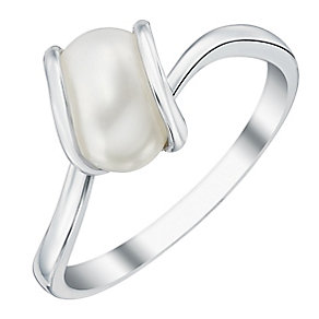 9ct White Gold Cultured Freshwater Pearl Wrap Ring - Product number 4145380